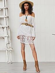cheap -Women's White Dress Sheath Solid Color Off Shoulder S M