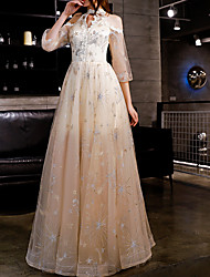 cheap -A-Line Elegant Spring Engagement Prom Dress Jewel Neck 3/4 Length Sleeve Floor Length Polyester with Appliques 2020