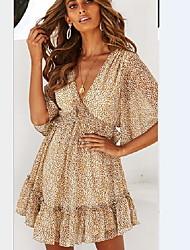cheap -Women's Brown Dress A Line Polka Dot V Neck S M