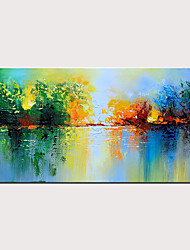 cheap -Handmade Oil Painting on Canvas Green Abstract Decoration Knife Painting Wall Art Lake Scenery Artwor With Stretched Frame