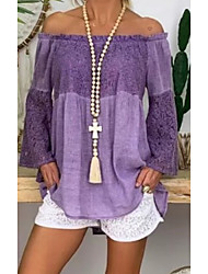 cheap -Women's Solid Colored Loose Shirt Daily Off Shoulder Purple / Khaki
