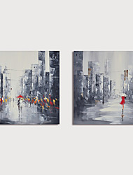 cheap -Hand Painted Canvas Oilpainting Abstract Street Landscape Set of 2 Home Decoration with Frame Painting Ready to Hang With Stretched Frame