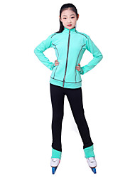 cheap -Over The Boot Figure Skating Tights Figure Skating Fleece Jacket Girls' Ice Skating Top Bottoms Fuchsia Green Fleece Spandex High Elasticity Training Competition Skating Wear Solid Colored Long Sleeve