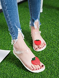 cheap -Women's Sandals Katy Perry Sandals Flat Heel Round Toe PU Summer White / Black / Gray