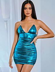 cheap -Women's Silver Black Dress A Line Solid Color Strap S M