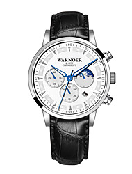 cheap -Men's Dress Watch Quartz Stylish Casual Water Resistant / Waterproof Analog Golden / Brown Black / Silver White / One Year / Leather / Noctilucent