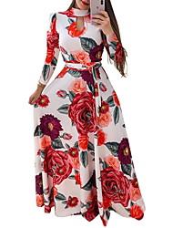 cheap -Women's A Line Swing Dress - Maxi Print Black Yellow Blushing Pink S M L XL