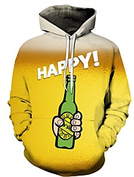 cheap -Men's Hoodie Print Hooded Casual Yellow US32 / UK32 / EU40 US34 / UK34 / EU42 US36 / UK36 / EU44 US38 / UK38 / EU46 US40 / UK40 / EU48