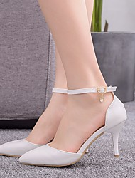 cheap -Women's Wedding Shoes Stiletto Heel Pointed Toe Buckle PU Spring & Summer / Fall & Winter White / Party & Evening