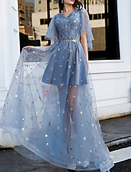 cheap -A-Line V Neck Floor Length Polyester Sexy / Blue Prom / Party Wear Dress with Sequin / Appliques / Sash / Ribbon 2020