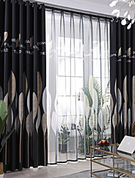 cheap -Window Curtain Drape Window Treatments Room Darkening Grommet Rod Pocket Gyrohome 1PC Silver Leafs Shading for Living Room Bedroom