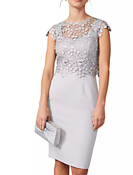 cheap -Sheath / Column Jewel Neck Knee Length Polyester Elegant / Gray Cocktail Party / Wedding Guest Dress with Appliques 2020