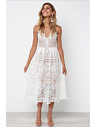 cheap -Women's Vacation Beach A Line Dress - Solid Color Lace Embroidery Eyelet Strap Spring Lace White S M L XL