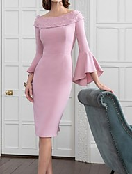 cheap -Sheath / Column Mother of the Bride Dress Elegant Off Shoulder Knee Length Satin Polyester Long Sleeve with Appliques 2020