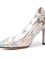 cheap -Women's Wedding Shoes Transparent Shoes Stiletto Heel Pointed Toe Microfiber Spring & Summer Almond / Nude / Black