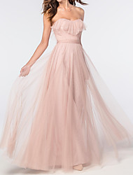 cheap -A-Line Elegant Pink Engagement Prom Dress Sweetheart Neckline Sleeveless Floor Length Tulle with Ruffles 2020