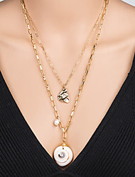 cheap -Women's Pendant Necklace Necklace Layered Necklace Stacking Stackable Lucky Classic Rustic Vintage Bohemian Imitation Pearl Chrome Shell Gold 60 cm Necklace Jewelry 1pc For Street Beach