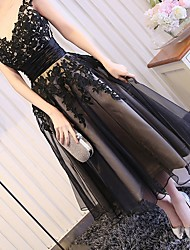 cheap -A-Line Jewel Neck Tea Length Polyester Elegant / Black Prom / Party Wear Dress with Appliques 2020