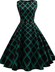 cheap -Women's Party Daily Vintage Style Street chic Swing Dress - Striped Patchwork Print Black S M L XL