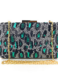 cheap -Women's Sequin Polyester Evening Bag Color Block Black / Gold / Silver