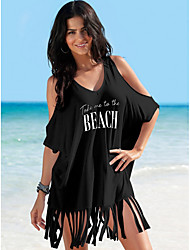cheap -Women's White Black Dress Loose Letter V Neck One-Size Loose