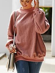 cheap -Women's Sweatshirt Solid Colored Casual Black Blushing Pink Army Green Khaki Brown Beige Gray S M L XL XXL