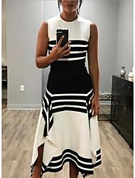 cheap -Women's White Black Dress Sheath Color Block S M