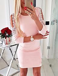 cheap -Women's Sheath Dress - Solid Color Black White Blushing Pink S M XL XXL