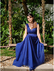 cheap -A-Line V Neck Sweep / Brush Train Lace / Tulle Elegant / Blue Prom / Formal Evening Dress with Appliques / Tier 2020