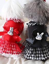 cheap -Dog Costume Dress Dog Clothes Breathable Red Black Costume Beagle Bichon Frise Chihuahua Cotton Plaid / Check Bowknot Rabbit / Bunny Party Cute XS S M L XL