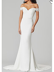 cheap -Mermaid / Trumpet V Neck Sweep / Brush Train Satin Short Sleeve Country Plus Size Wedding Dresses with Draping 2020