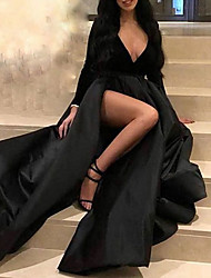 cheap -A-Line V Neck Floor Length Polyester Sexy / Black Prom / Formal Evening Dress with Sash / Ribbon / Split 2020