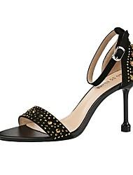 Недорогие -Жен. Сандалии Обувь для печати На шпильке Круглый носок Полиуретан Лето Красный / Розовый / Синий
