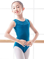 cheap -Ballet Leotard / Onesie Lace Split Joint Girls' Training Performance Sleeveless Natural Polyester / Cotton Blend