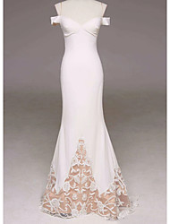 cheap -Mermaid / Trumpet Elegant White Engagement Prom Dress Sweetheart Neckline Sleeveless Sweep / Brush Train Polyester with Lace Insert Appliques 2020