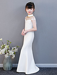 cheap -Mermaid / Trumpet Floor Length Wedding / Party / Pageant Flower Girl Dresses - Spun Rayon Cap Sleeve High Neck with Lace