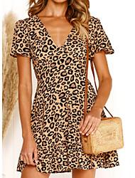 cheap -Women's A Line Dress - Leopard White Red Brown S M L XL