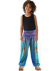 cheap -Girls' Dancer Yoga Meditation Masquerade Boho Exotic Dancewear Polyster Red Green White Pants / Kid's