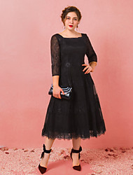 cheap -A-Line Scoop Neck Tea Length Lace / Satin / Tulle Plus Size / Black Cocktail Party / Party Wear Dress with Appliques 2020