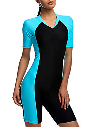 cheap -SBART Women's Rash Guard Dive Skin Suit 1.8mm Diving Suit SPF50 UV Sun Protection Quick Dry Short Sleeve Front Zip Boyleg - Swimming Diving Surfing Patchwork Spring Summer Fall / Winter
