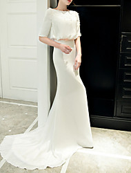 cheap -Mermaid / Trumpet Jewel Neck Sweep / Brush Train Polyester Elegant / White Engagement / Formal Evening Dress with Sequin / Appliques 2020