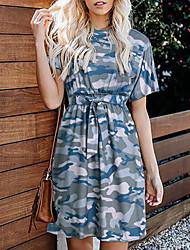 cheap -Women's Army Green Dress Shift Color Block S M