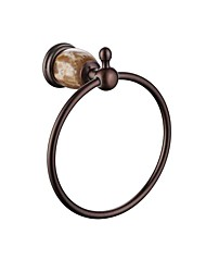 cheap -Modern Towel Bar With Marble Stylish Solid Brass Bathroom Towel Ring Heavy Duty Hotel Style Wall Mount Bronze TM6206-2PS