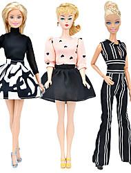 Недорогие -Аксессуары для кукол Одежда для кукол Платье куклы Простой Творчество Kawaii Одежда Ткань 3 pcs Детские Все Игрушки Подарок