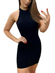 cheap -Women's Yellow Black Dress Sexy Street chic Going out Bodycon Sheath Solid Color Halter Neck Backless Patchwork S M