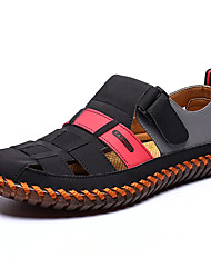 cheap -Men's Spring / Summer Casual Daily Home Sandals Walking Shoes Leather / Cowhide Breathable Waterproof Non-slipping Black / Red / Black / Yellow Color Block Slogan