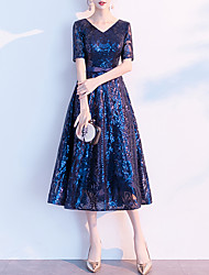cheap -A-Line Sparkle Blue Party Wear Cocktail Party Dress V Neck Half Sleeve Tea Length Sequined with Bow(s) Sequin 2020