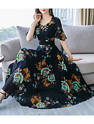 cheap -Women's Maxi Yellow Black Dress A Line Swing Floral M L