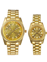 cheap -Unisex Steel Band Watches Vintage Casual Gold Stainless Steel Chinese Quartz Yellow Gold Hollow Engraving Creative New Design 30 m Analog One Year Battery Life