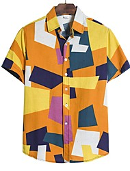 cheap -Men's Plus Size Color Block Shirt Sports Blue / Purple / Green / Short Sleeve
